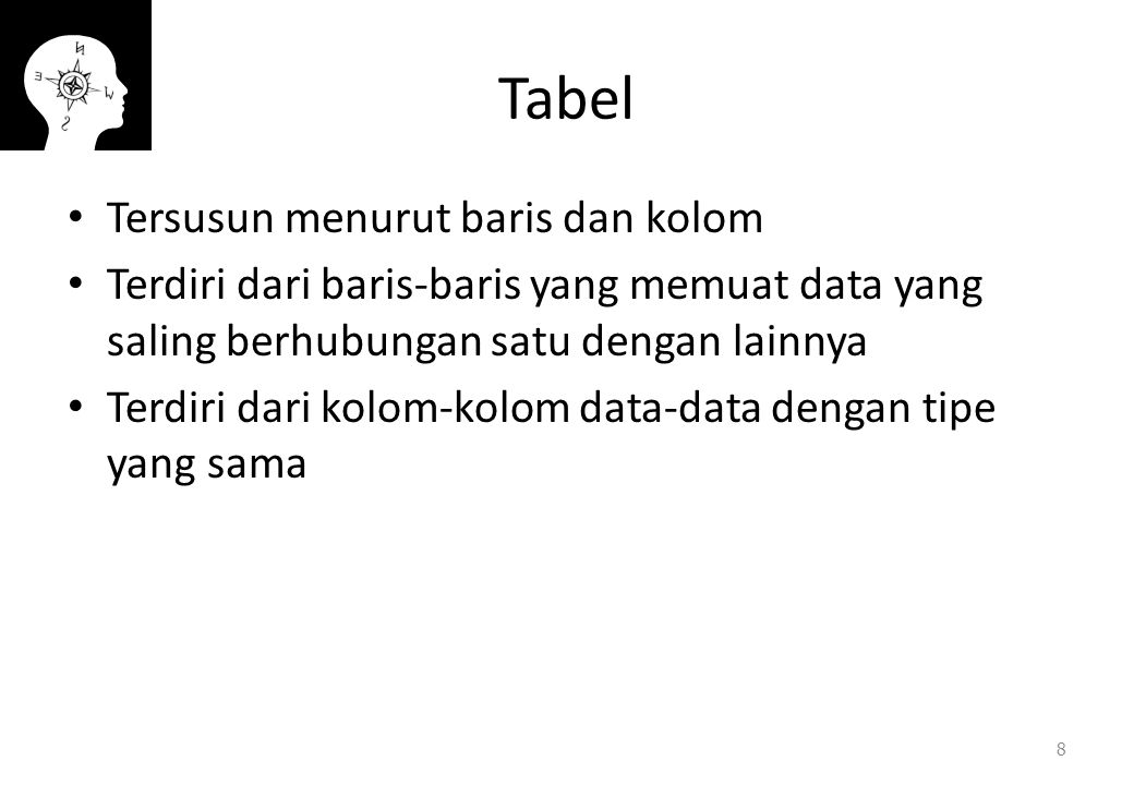 Tabel Tersusun menurut baris dan kolom Terdiri dari baris-baris yang memuat data yang saling berhubungan satu dengan lainnya Terdiri dari kolom-kolom data-data dengan tipe yang sama 8
