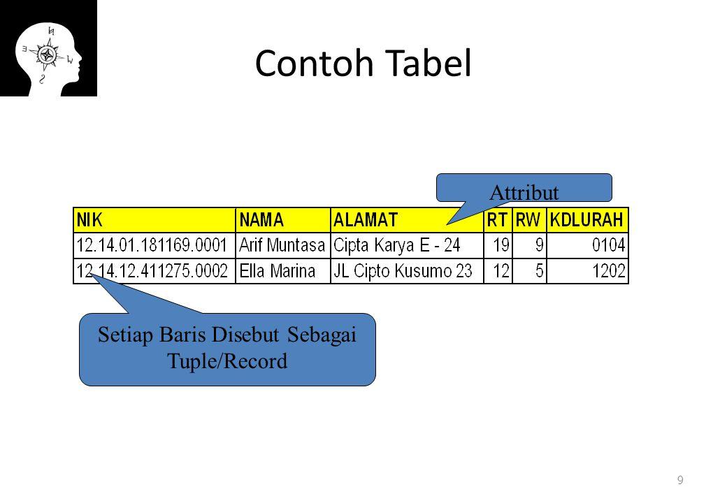 Contoh Tabel 9 Attribut Setiap Baris Disebut Sebagai Tuple/Record
