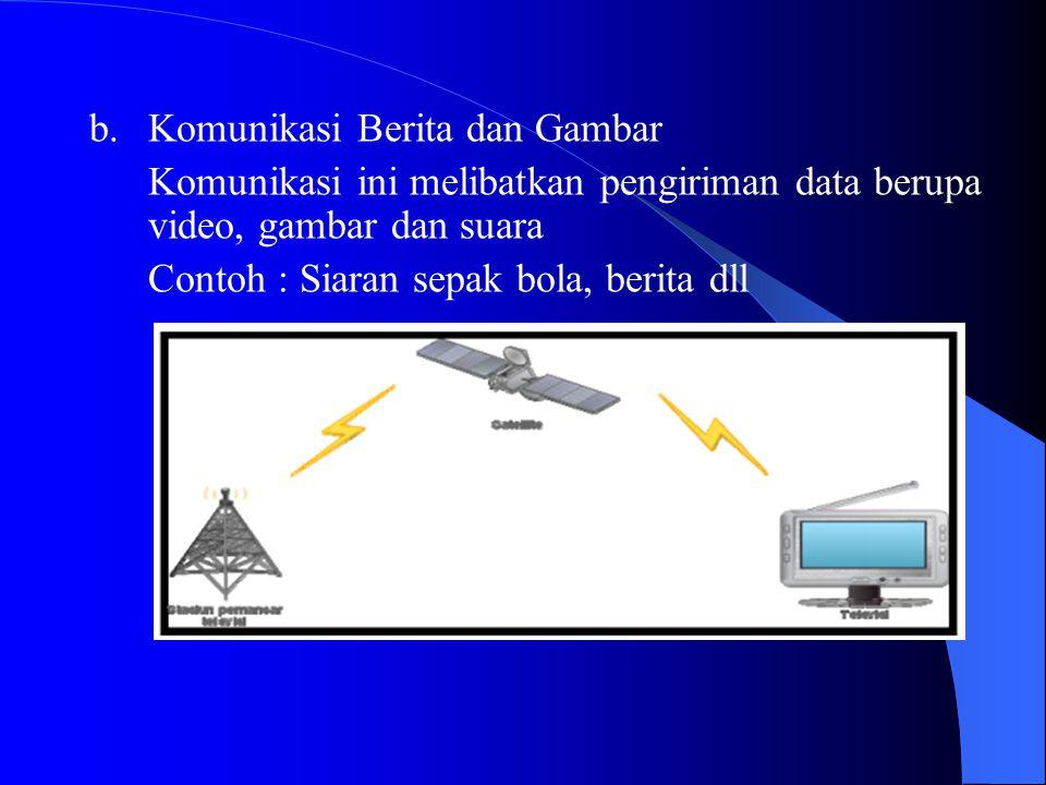 b. Komunikasi Berita dan Gambar Komunikasi ini melibatkan pengiriman data berupa video, gambar dan suara Contoh : Siaran sepak bola, berita dll