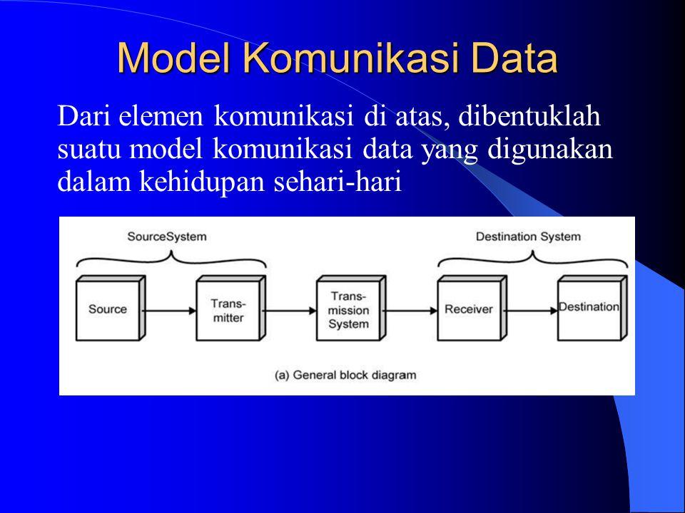 Model Komunikasi Data Dari elemen komunikasi di atas, dibentuklah suatu model komunikasi data yang digunakan dalam kehidupan sehari-hari