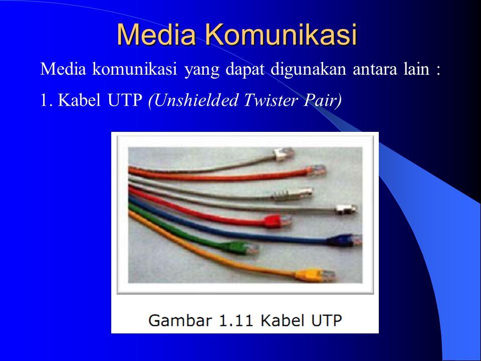 Media Komunikasi Media komunikasi yang dapat digunakan antara lain : 1. Kabel UTP (Unshielded Twister Pair)