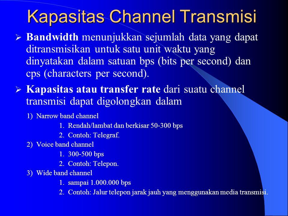 Kapasitas Channel Transmisi  Kapasitas atau transfer rate dari suatu channel transmisi dapat digolongkan dalam  Bandwidth menunjukkan sejumlah data