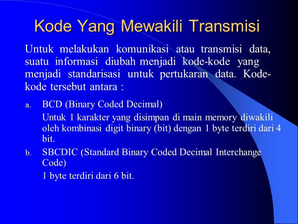 Kode Yang Mewakili Transmisi a. BCD (Binary Coded Decimal) Untuk 1 karakter yang disimpan di main memory diwakili oleh kombinasi digit binary (bit) de