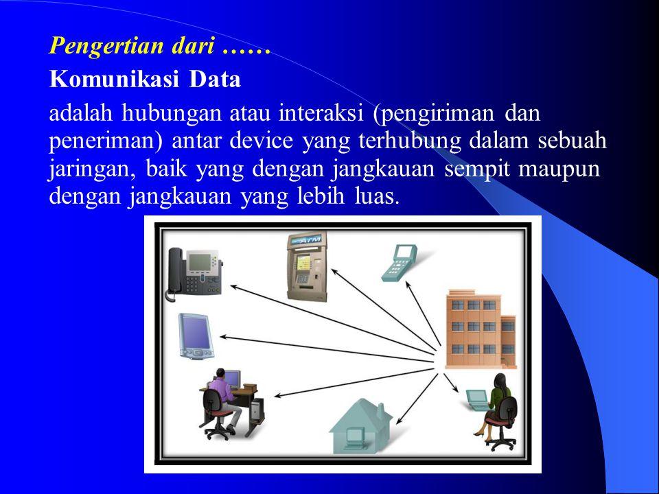 Pengertian dari …… Komunikasi Data adalah hubungan atau interaksi (pengiriman dan peneriman) antar device yang terhubung dalam sebuah jaringan, baik y