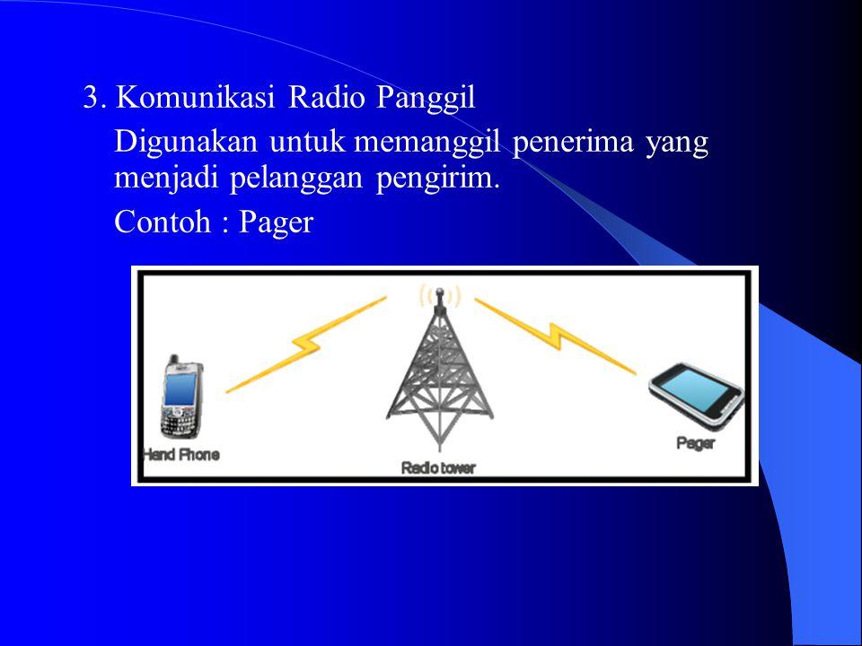 3. Komunikasi Radio Panggil Digunakan untuk memanggil penerima yang menjadi pelanggan pengirim. Contoh : Pager