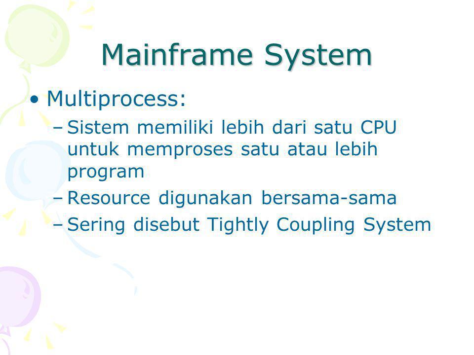 Mainframe System Multiprocess: –Sistem memiliki lebih dari satu CPU untuk memproses satu atau lebih program –Resource digunakan bersama-sama –Sering disebut Tightly Coupling System