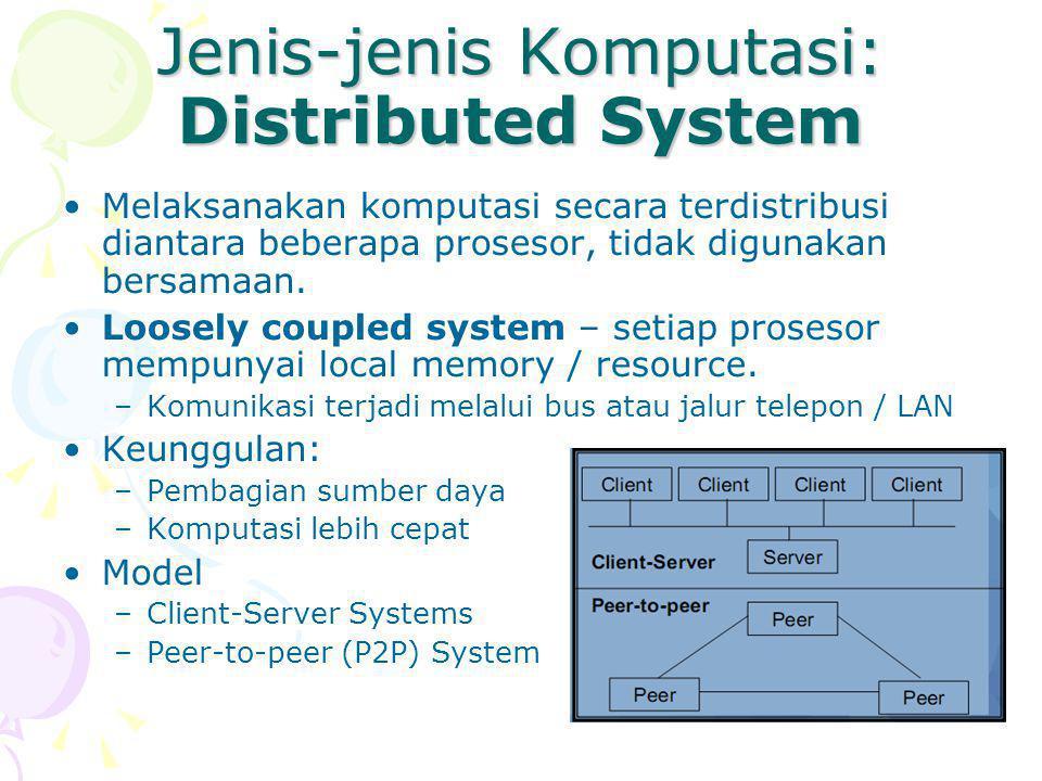 Jenis-jenis Komputasi: Distributed System Melaksanakan komputasi secara terdistribusi diantara beberapa prosesor, tidak digunakan bersamaan.