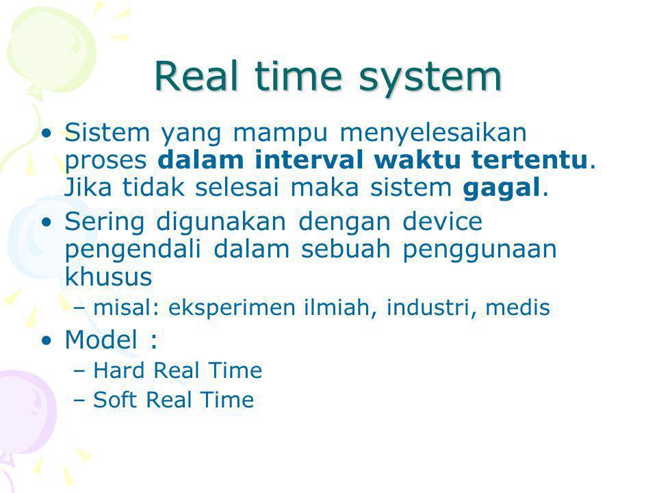 Real time system Sistem yang mampu menyelesaikan proses dalam interval waktu tertentu.