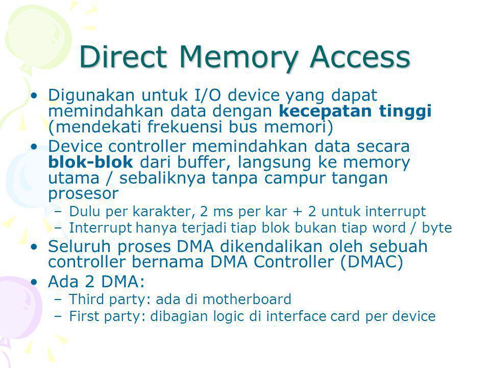 Direct Memory Access Digunakan untuk I/O device yang dapat memindahkan data dengan kecepatan tinggi (mendekati frekuensi bus memori) Device controller memindahkan data secara blok-blok dari buffer, langsung ke memory utama / sebaliknya tanpa campur tangan prosesor –Dulu per karakter, 2 ms per kar + 2 untuk interrupt –Interrupt hanya terjadi tiap blok bukan tiap word / byte Seluruh proses DMA dikendalikan oleh sebuah controller bernama DMA Controller (DMAC) Ada 2 DMA: –Third party: ada di motherboard –First party: dibagian logic di interface card per device