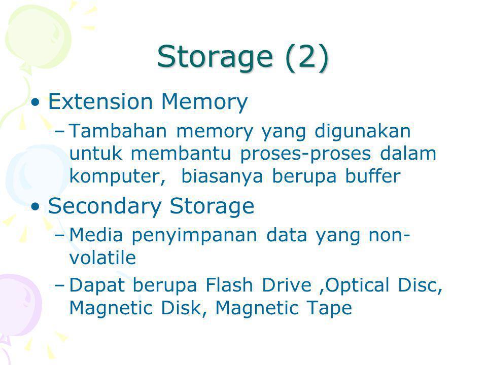 Storage (2) Extension Memory –Tambahan memory yang digunakan untuk membantu proses-proses dalam komputer, biasanya berupa buffer Secondary Storage –Media penyimpanan data yang non- volatile –Dapat berupa Flash Drive,Optical Disc, Magnetic Disk, Magnetic Tape