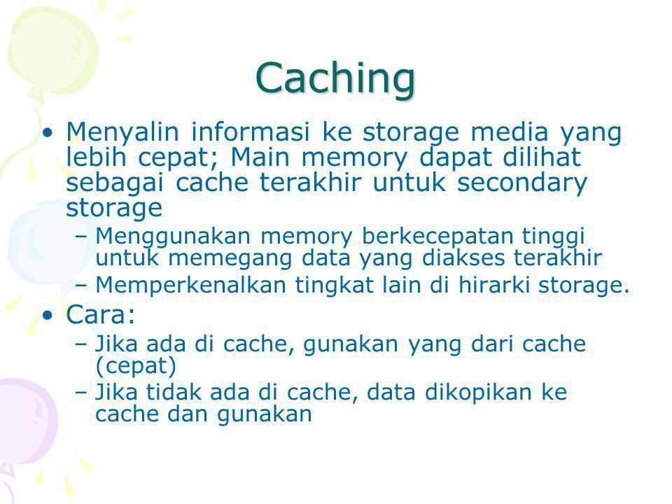 Caching Menyalin informasi ke storage media yang lebih cepat; Main memory dapat dilihat sebagai cache terakhir untuk secondary storage –Menggunakan memory berkecepatan tinggi untuk memegang data yang diakses terakhir –Memperkenalkan tingkat lain di hirarki storage.