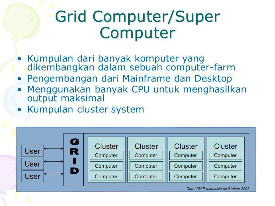 Grid Computer/Super Computer Kumpulan dari banyak komputer yang dikembangkan dalam sebuah computer-farm Pengembangan dari Mainframe dan Desktop Menggunakan banyak CPU untuk menghasilkan output maksimal Kumpulan cluster system