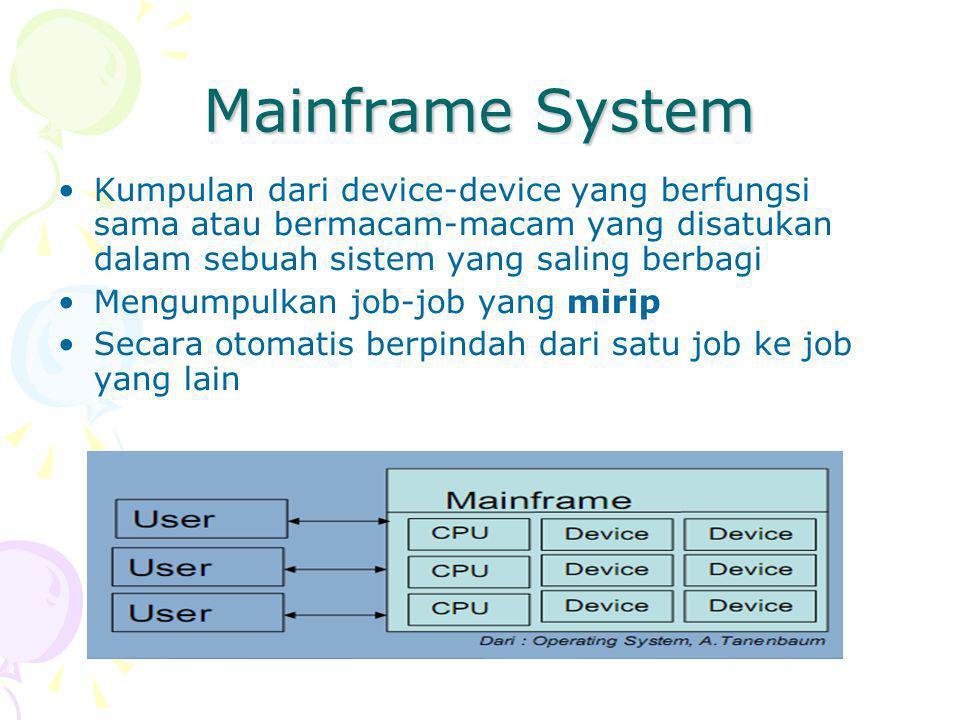 Mainframe System Kumpulan dari device-device yang berfungsi sama atau bermacam-macam yang disatukan dalam sebuah sistem yang saling berbagi Mengumpulkan job-job yang mirip Secara otomatis berpindah dari satu job ke job yang lain