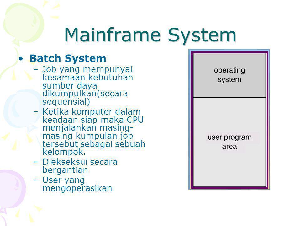 Mainframe System Batch System –Job yang mempunyai kesamaan kebutuhan sumber daya dikumpulkan(secara sequensial) –Ketika komputer dalam keadaan siap maka CPU menjalankan masing- masing kumpulan job tersebut sebagai sebuah kelompok.