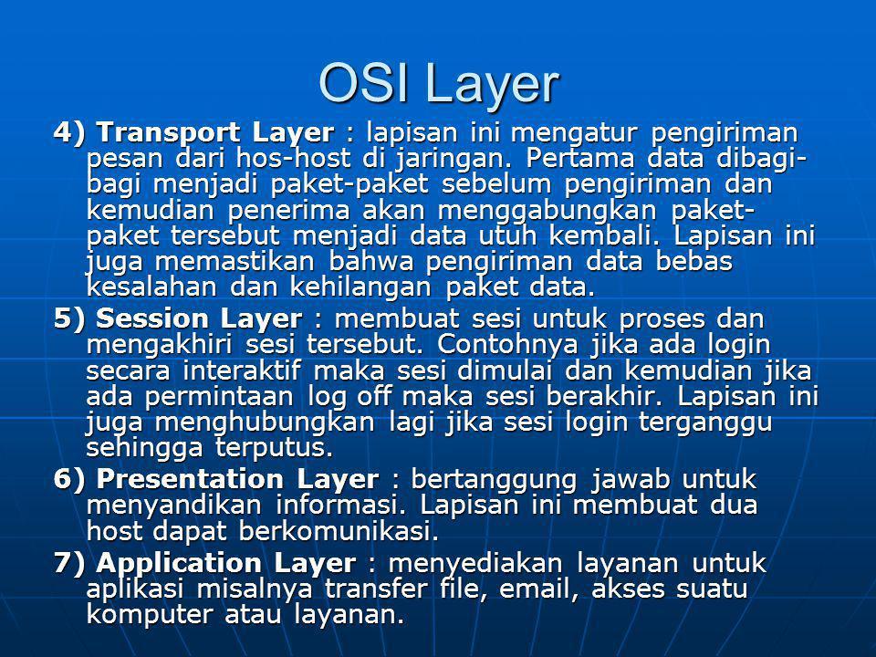 OSI Layer 4) Transport Layer : lapisan ini mengatur pengiriman pesan dari hos-host di jaringan. Pertama data dibagi- bagi menjadi paket-paket sebelum