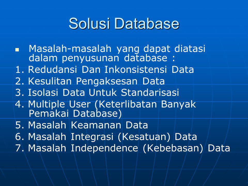 Solusi Database Masalah-masalah yang dapat diatasi dalam penyusunan database : 1. Redudansi Dan Inkonsistensi Data 2. Kesulitan Pengaksesan Data 3. Is