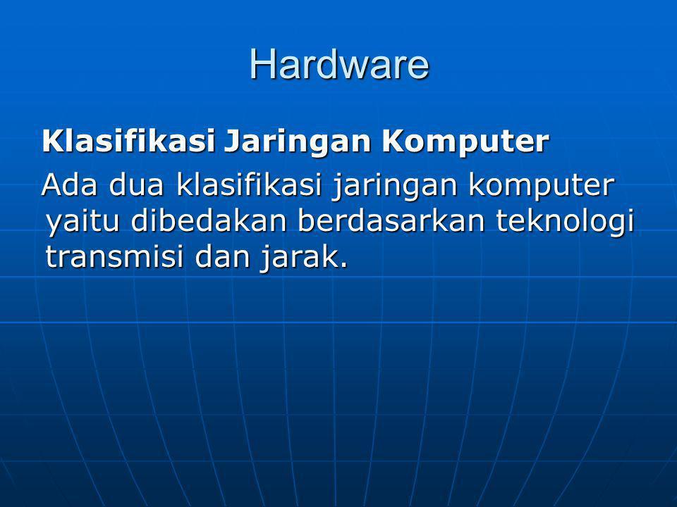 Hardware Klasifikasi Jaringan Komputer Ada dua klasifikasi jaringan komputer yaitu dibedakan berdasarkan teknologi transmisi dan jarak.