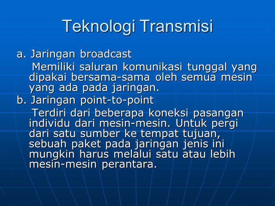 Teknologi Transmisi a. Jaringan broadcast Memiliki saluran komunikasi tunggal yang dipakai bersama-sama oleh semua mesin yang ada pada jaringan. Memil
