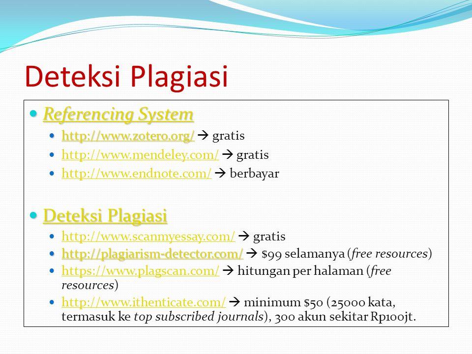 Deteksi Plagiasi Referencing System Referencing System Referencing System Referencing System http://www.zotero.org/ http://www.zotero.org/  gratis ht