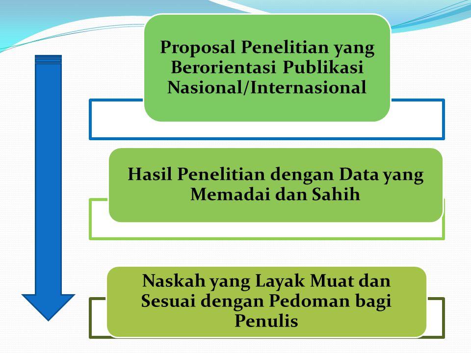 Proposal Penelitian yang Berorientasi Publikasi Nasional/Internasional Hasil Penelitian dengan Data yang Memadai dan Sahih Naskah yang Layak Muat dan