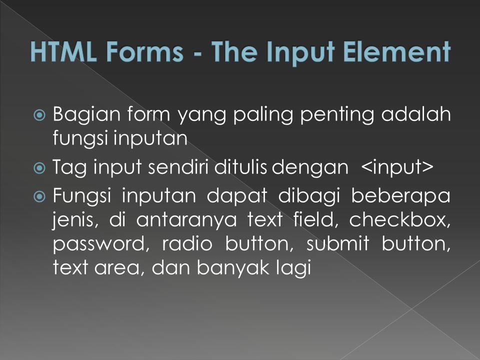  Bagian form yang paling penting adalah fungsi inputan  Tag input sendiri ditulis dengan  Fungsi inputan dapat dibagi beberapa jenis, di antaranya