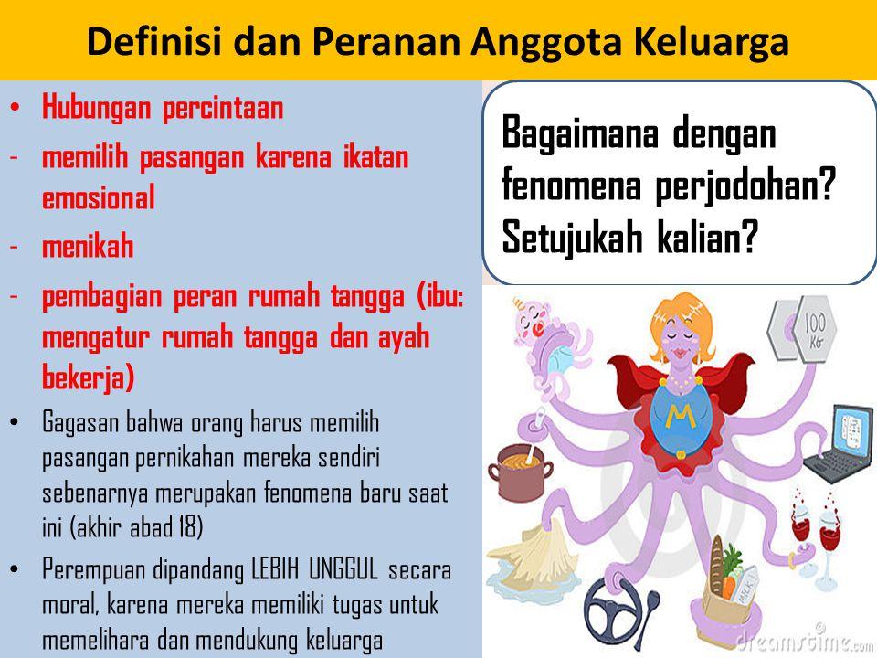 Definisi dan Peranan Anggota Keluarga Hubungan percintaan - memilih pasangan karena ikatan emosional - menikah - pembagian peran rumah tangga (ibu: me