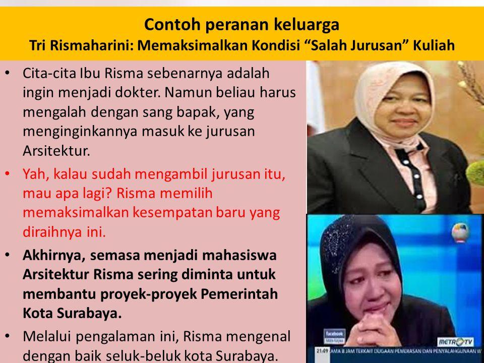 "Contoh peranan keluarga Tri Rismaharini: Memaksimalkan Kondisi ""Salah Jurusan"" Kuliah Cita-cita Ibu Risma sebenarnya adalah ingin menjadi dokter. Namu"