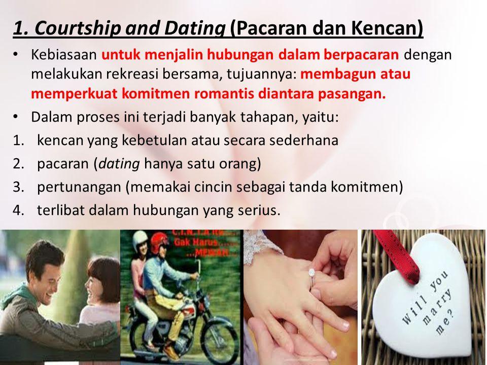 1. Courtship and Dating (Pacaran dan Kencan) Kebiasaan untuk menjalin hubungan dalam berpacaran dengan melakukan rekreasi bersama, tujuannya: membagun