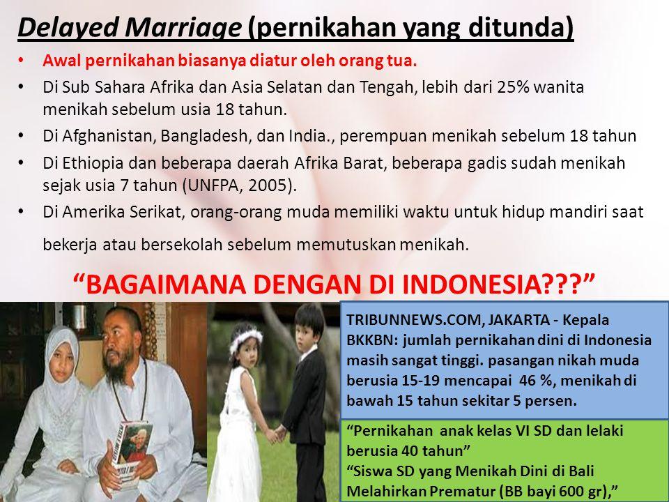 Delayed Marriage (pernikahan yang ditunda) Awal pernikahan biasanya diatur oleh orang tua. Di Sub Sahara Afrika dan Asia Selatan dan Tengah, lebih dar