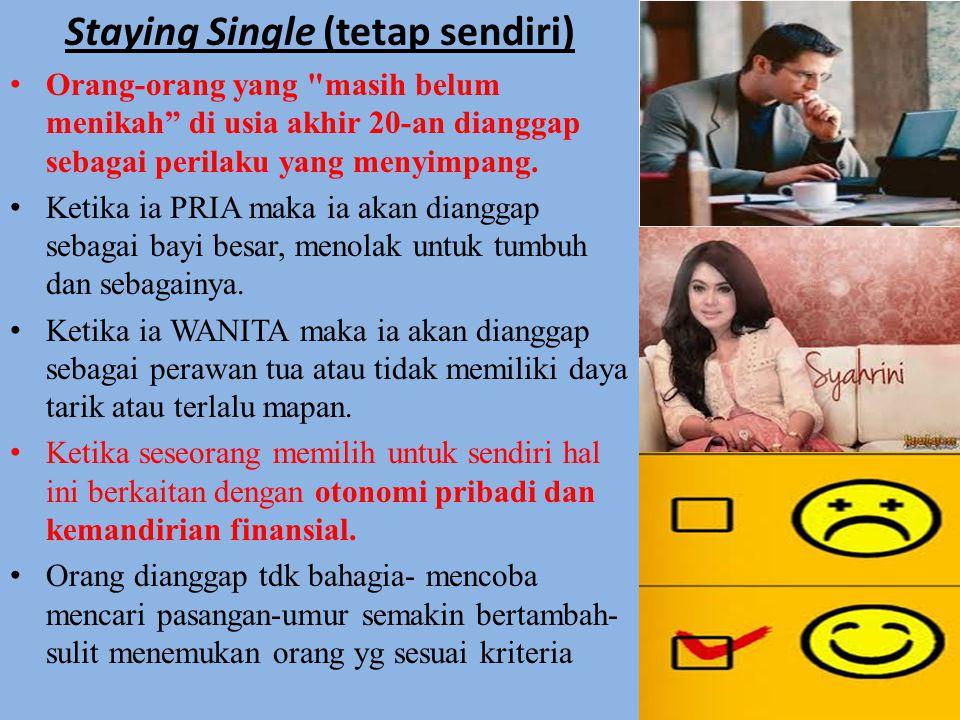 Staying Single (tetap sendiri) Orang-orang yang masih belum menikah di usia akhir 20-an dianggap sebagai perilaku yang menyimpang.