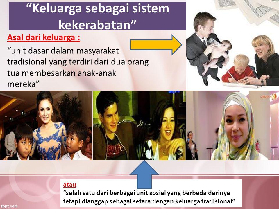 Keluarga sebagai sistem kekerabatan Asal dari keluarga : unit dasar dalam masyarakat tradisional yang terdiri dari dua orang tua membesarkan anak-anak mereka atau salah satu dari berbagai unit sosial yang berbeda darinya tetapi dianggap sebagai setara dengan keluarga tradisional