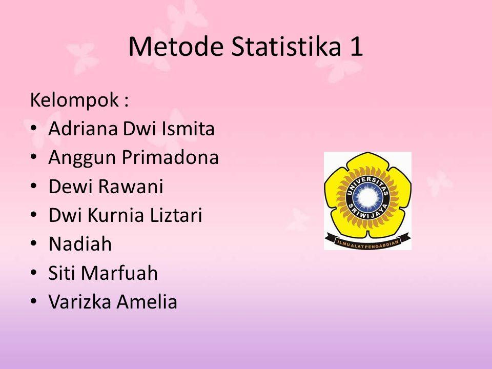 Metode Statistika 1 Kelompok : Adriana Dwi Ismita Anggun Primadona Dewi Rawani Dwi Kurnia Liztari Nadiah Siti Marfuah Varizka Amelia