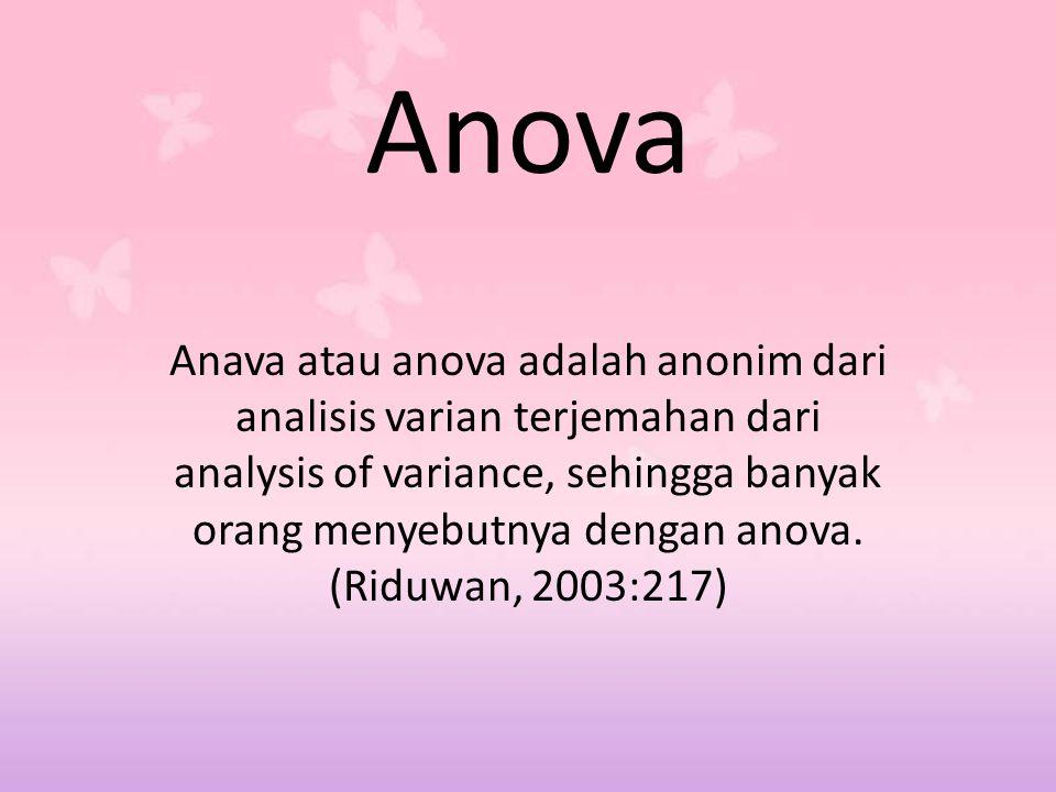 Anova Anava atau anova adalah anonim dari analisis varian terjemahan dari analysis of variance, sehingga banyak orang menyebutnya dengan anova. (Riduw