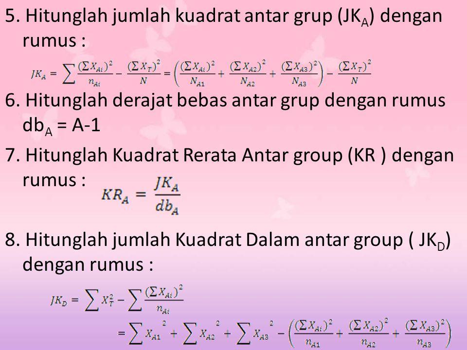 5. Hitunglah jumlah kuadrat antar grup (JK A ) dengan rumus : 6. Hitunglah derajat bebas antar grup dengan rumus db A = A-1 7. Hitunglah Kuadrat Rerat