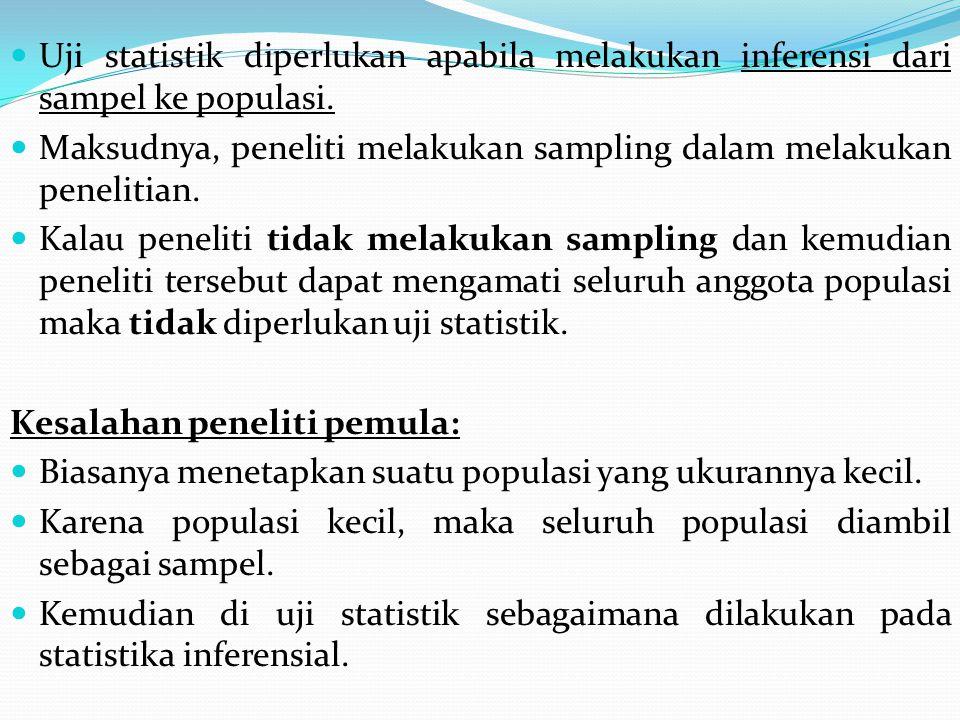 Uji statistik diperlukan apabila melakukan inferensi dari sampel ke populasi. Maksudnya, peneliti melakukan sampling dalam melakukan penelitian. Kalau
