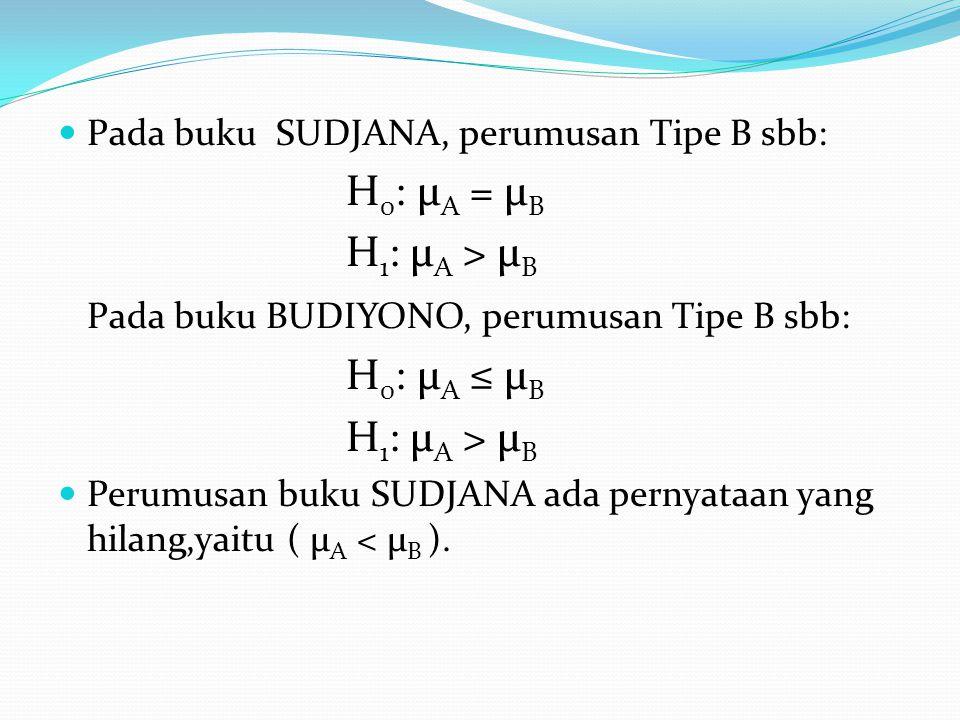 Pada buku SUDJANA, perumusan Tipe B sbb: H 0 : µ A = µ B H 1 : µ A > µ B Pada buku BUDIYONO, perumusan Tipe B sbb: H 0 : µ A ≤ µ B H 1 : µ A > µ B Per
