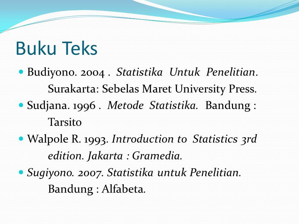 Buku Teks Budiyono. 2004. Statistika Untuk Penelitian. Surakarta: Sebelas Maret University Press. Sudjana. 1996. Metode Statistika. Bandung : Tarsito