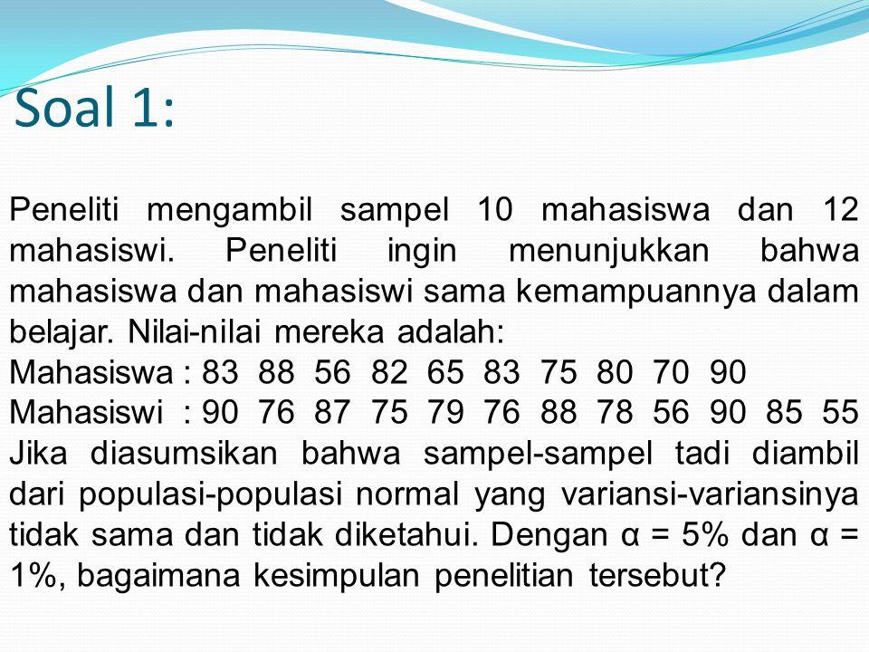 Soal 1: Peneliti mengambil sampel 10 mahasiswa dan 12 mahasiswi. Peneliti ingin menunjukkan bahwa mahasiswa dan mahasiswi sama kemampuannya dalam bela