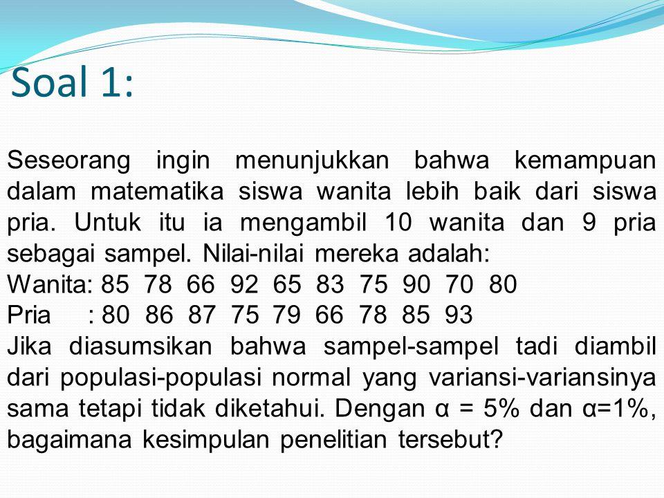 Soal 1: Seseorang ingin menunjukkan bahwa kemampuan dalam matematika siswa wanita lebih baik dari siswa pria. Untuk itu ia mengambil 10 wanita dan 9 p
