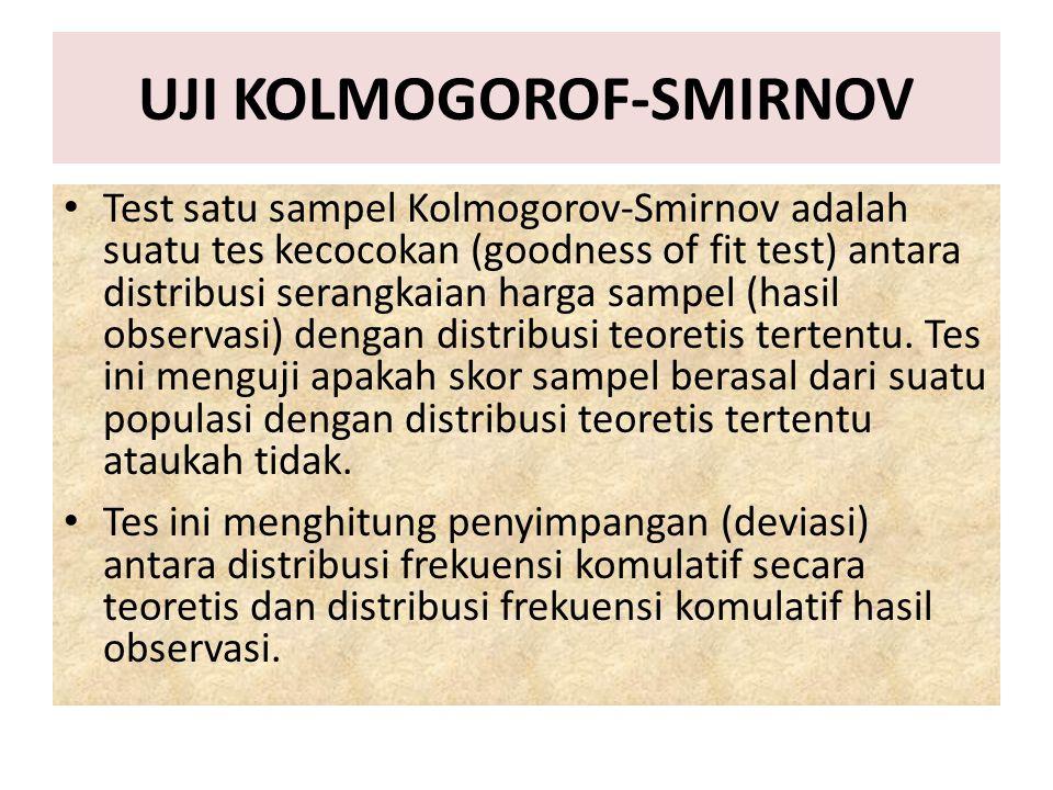 UJI KOLMOGOROF-SMIRNOV Test satu sampel Kolmogorov-Smirnov adalah suatu tes kecocokan (goodness of fit test) antara distribusi serangkaian harga sampe