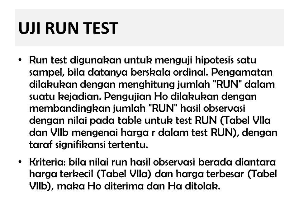 UJI RUN TEST Run test digunakan untuk menguji hipotesis satu sampel, bila datanya berskala ordinal. Pengamatan dilakukan dengan menghitung jumlah