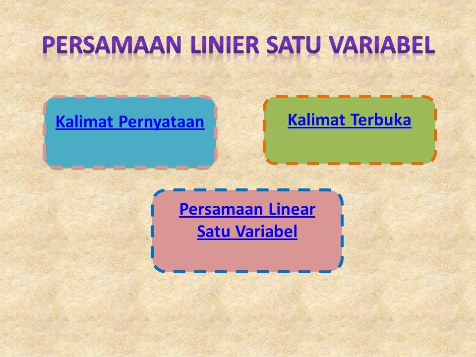Kalimat Pernyataan Persamaan Linear Satu Variabel Kalimat Terbuka