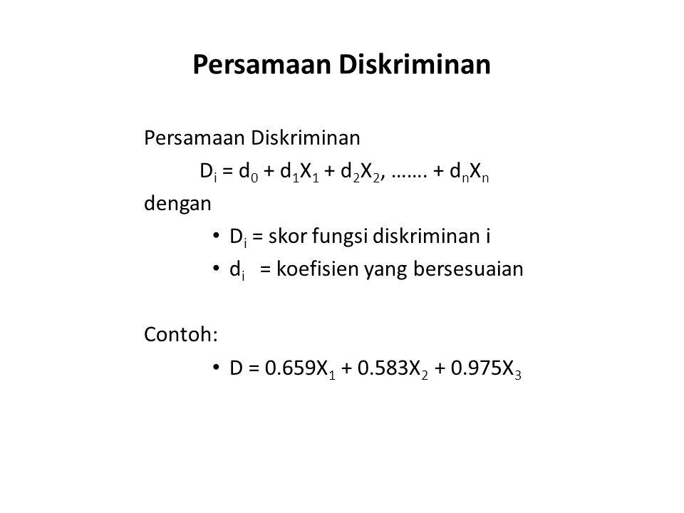 Persamaan Diskriminan D i = d 0 + d 1 X 1 + d 2 X 2, ……. + d n X n dengan D i = skor fungsi diskriminan i d i = koefisien yang bersesuaian Contoh: D =
