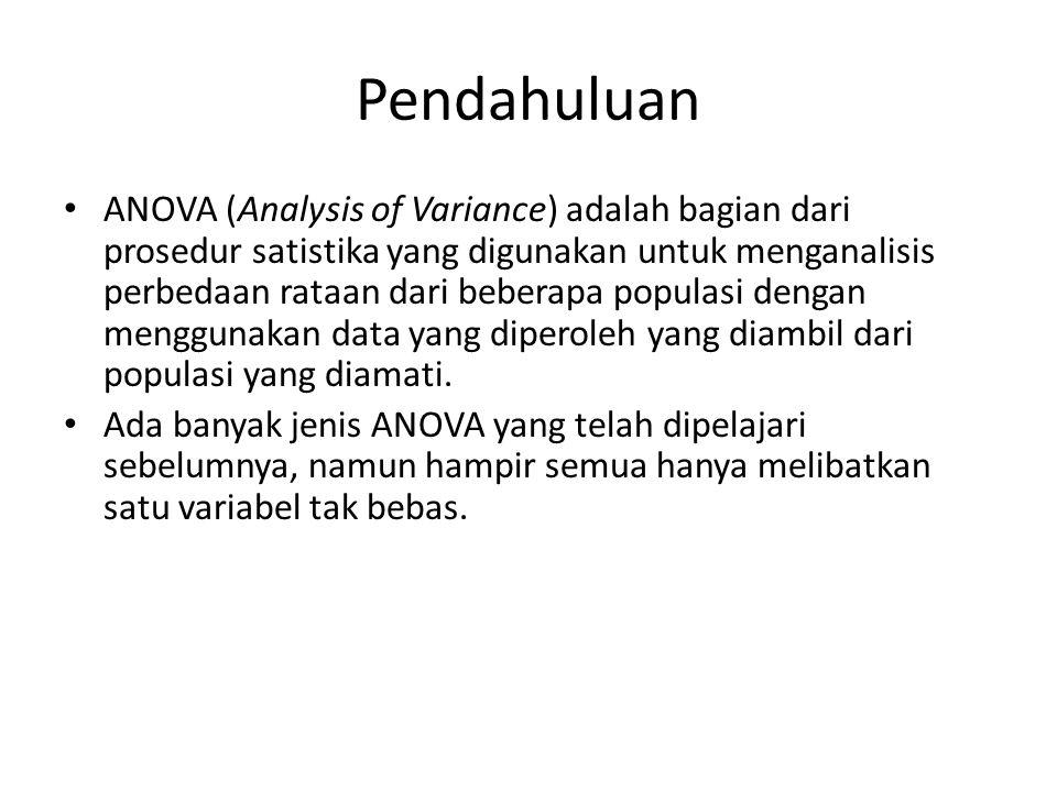 Pendahuluan ANOVA (Analysis of Variance) adalah bagian dari prosedur satistika yang digunakan untuk menganalisis perbedaan rataan dari beberapa popula