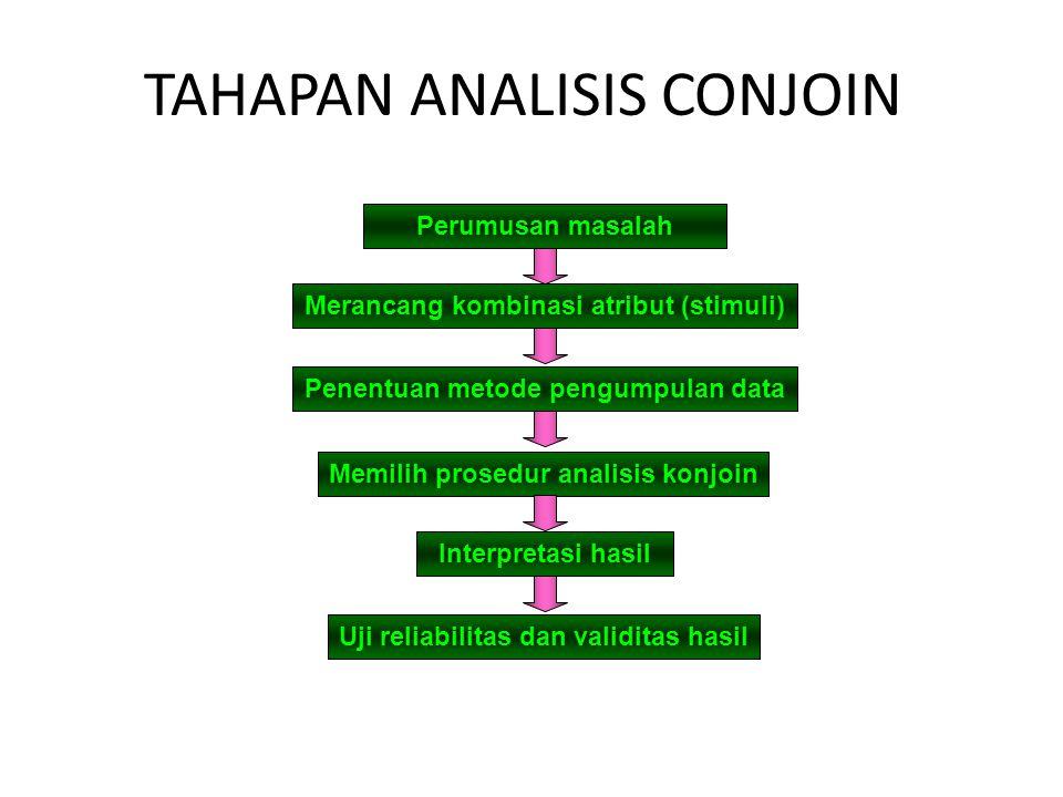 TAHAPAN ANALISIS CONJOIN Perumusan masalah Merancang kombinasi atribut (stimuli) Penentuan metode pengumpulan data Memilih prosedur analisis konjoin Interpretasi hasil Uji reliabilitas dan validitas hasil