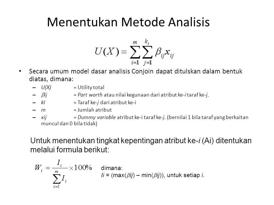 Menentukan Metode Analisis Secara umum model dasar analisis Conjoin dapat ditulskan dalam bentuk diatas, dimana: – U(X) = Utility total –  ij = Part worth atau nilai kegunaan dari atribut ke-i taraf ke-j.