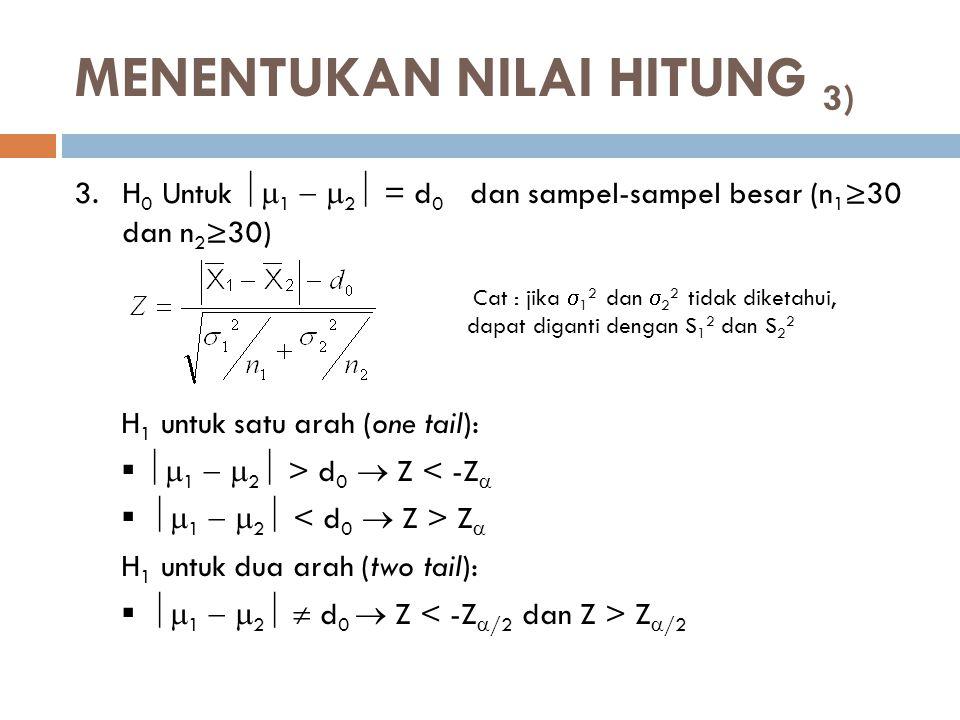 MENENTUKAN NILAI HITUNG 3) 3.H 0 Untuk  1   2  = d 0 dan sampel-sampel besar (n 1 ≥30 dan n 2 ≥30) H 1 untuk satu arah (one tail):   1   2 