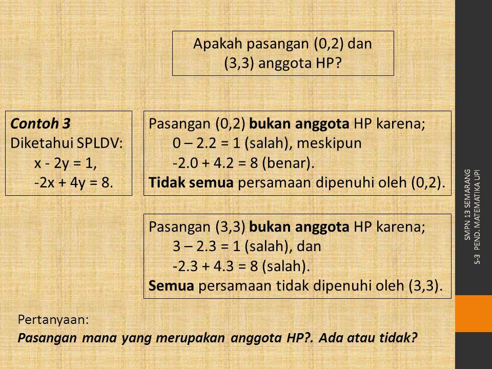 Pasangan (3,3) bukan anggota HP karena; 3 – 2.3 = 1 (salah), dan -2.3 + 4.3 = 8 (salah). Semua persamaan tidak dipenuhi oleh (3,3). Apakah pasangan (0