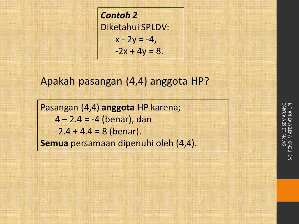 SMPN 13 SEMARANG S-3 PEND. MATEMATIKA UPI Contoh 2 Diketahui SPLDV: x - 2y = -4, -2x + 4y = 8. Apakah pasangan (4,4) anggota HP? Pasangan (4,4) anggot