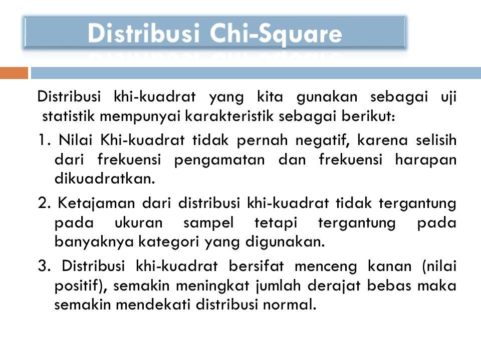 Distribusi khi-kuadrat yang kita gunakan sebagai uji statistik mempunyai karakteristik sebagai berikut: 1. Nilai Khi-kuadrat tidak pernah negatif, kar